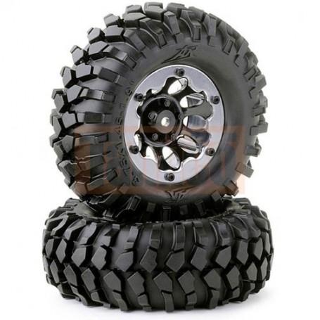 Pneus e Roda 1/10 Wheel Set Crawler black 96mm (2) Carson